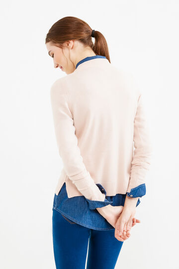 Solid colour cardigan with slits, Pink, hi-res
