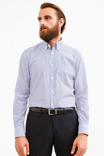 Slim-fit striped formal shirt, Blue, hi-res