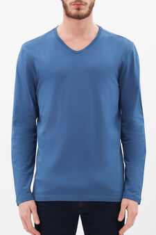 Long-sleeved T-shirt with V neck, Turquoise Blue, hi-res