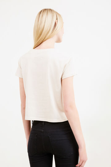 Printesd cropped T-shirt in 100% cotton, Camel, hi-res