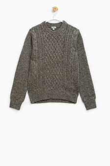 Wool blend knitted pullover, Grey, hi-res