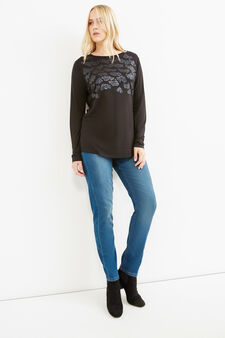 Curvy 100% viscose T-shirt with sequins, Black, hi-res