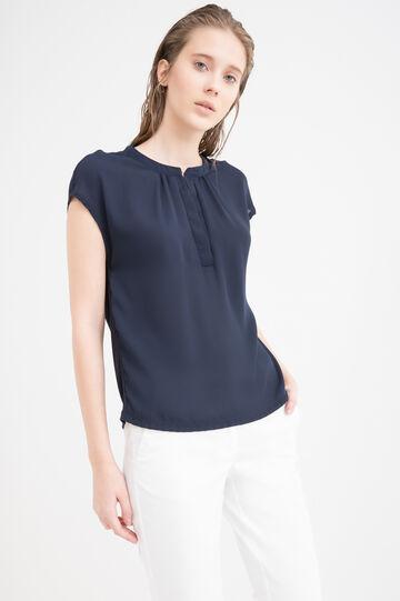 Solid colour 100% viscose blouse., Blue, hi-res