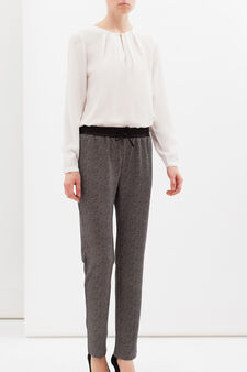 Stretch patterned trousers, Beige, hi-res