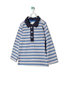 100% cotton striped polo shirt, White/Blue, hi-res