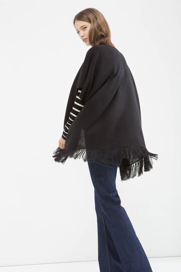 Knitted cardigan with fringe, Black, hi-res