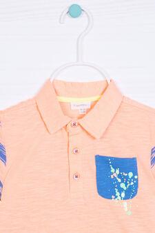 100% cotton polo shirt with spot effect, Blue/Orange, hi-res