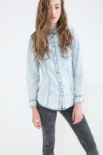 Denim shirt with contrasting colour seams., Soft Blue, hi-res