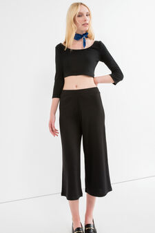 Stretch cotton ribbed Gaucho trousers, Black, hi-res