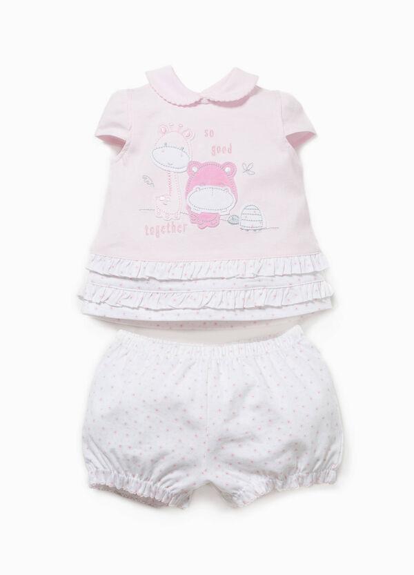 Conjunto de algodón de camiseta y shorts   OVS