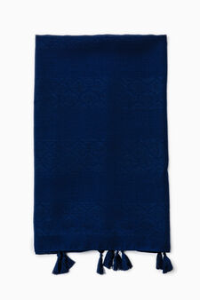 Pashmina with tassels, Navy Blue, hi-res