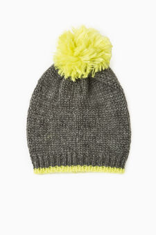 Beanie cap with pompom, Multicolour, hi-res