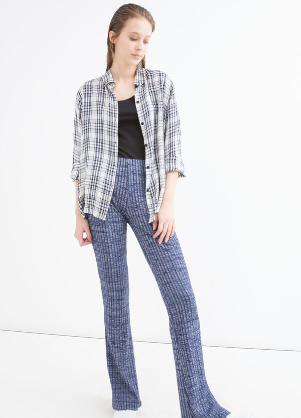 Stretch patterned viscose trousers | OVS