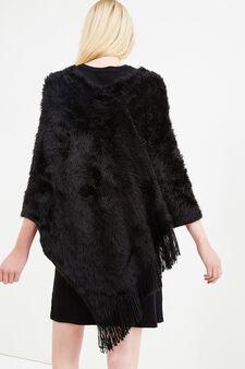 Faux fur poncho with fringe, Black, hi-res