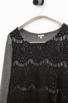 Smart Basic T-shirt with lace insert, Grey, hi-res