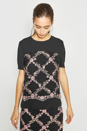 Blouse with contrasting colour embroidery, Black/Pink, hi-res