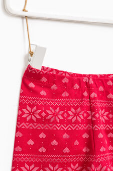 Patterned stretch leggings, Red, hi-res