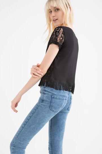 T-shirt pura viscosa con frange, Nero, hi-res