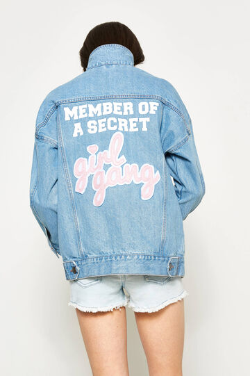 Teen denim jacket with print