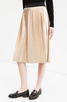 Pleated longuette skirt with elasticated waist band, Golden Yellow, hi-res