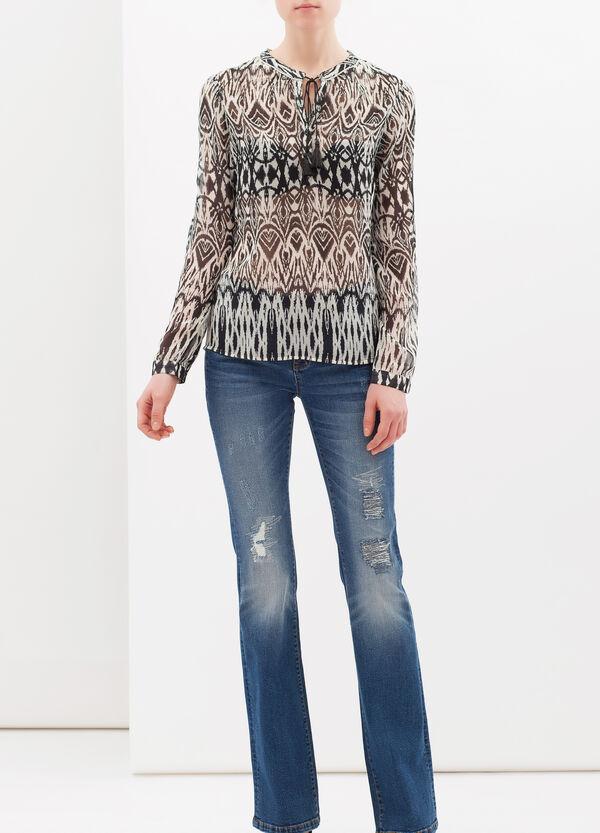 Mandarin collar patterned blouse | OVS