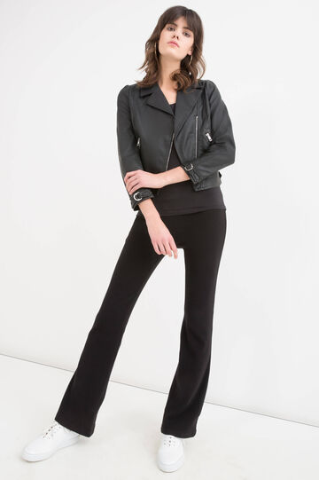 Solid colour leather look jacket, Black, hi-res