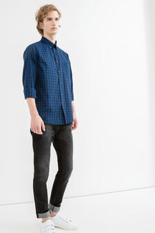 Casual shirt with yoke seam on the back, Black/Blue, hi-res