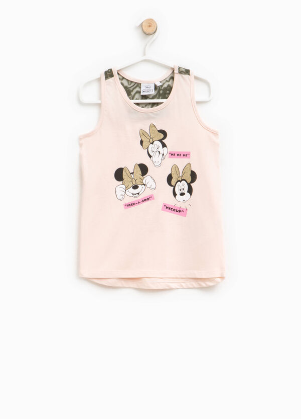 Top with glitter Minnie Mouse print and lace | OVS