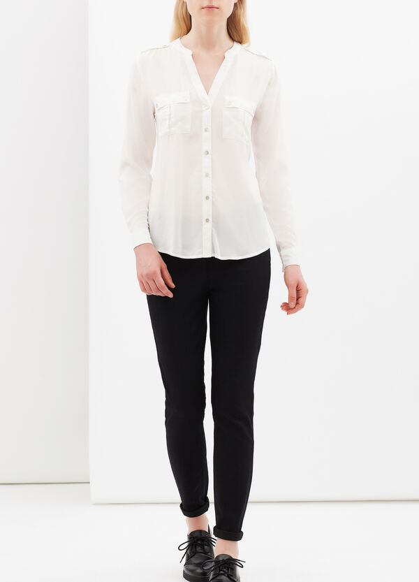Semi-sheer shirt with pockets | OVS