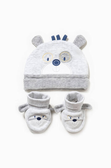 Hat and shoes set with ears, Grey Marl, hi-res