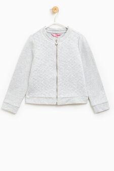 Stretch cotton sweatshirt with diamond weave, Grey Marl, hi-res