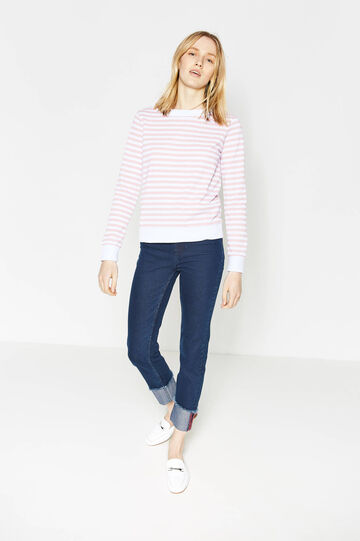 Cotton blend sweatshirt with striped pattern, White/Pink, hi-res