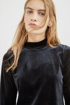 Short stretch velvet dress, Black, hi-res