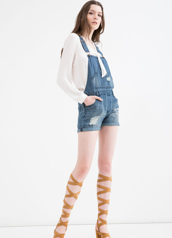 Short denim ripped dungarees | OVS