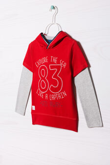 Cotton T-shirt and sweatshirt outfit, Grey/Red, hi-res