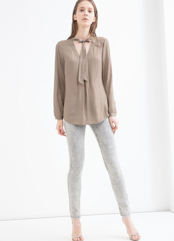 Solid colour blouse with neck ties | OVS