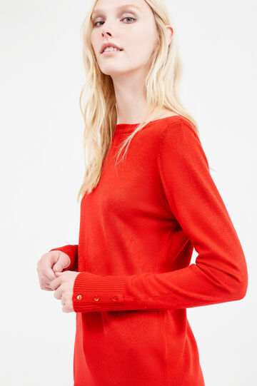 Pullover with buttons on cuffs, Red, hi-res