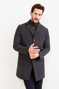 Slim-fit duster coat with padded lining, Black, hi-res
