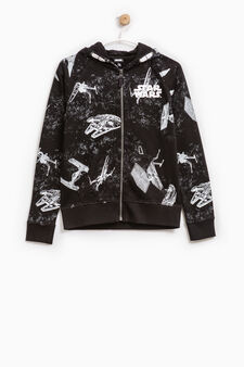 Hoodie with Star Wars all-over print, Black, hi-res