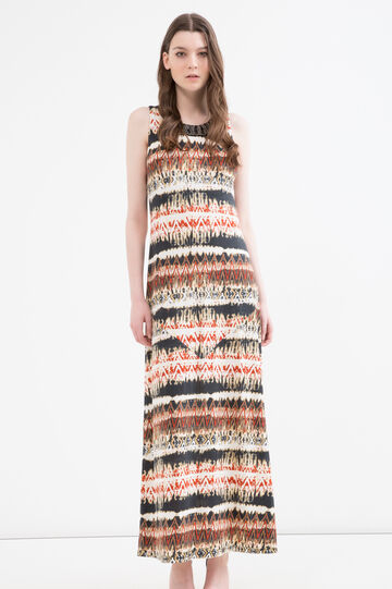 Long printed stretch dress, Cream White, hi-res