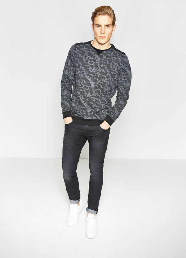 Cotton blend sweatshirt with all-over print | OVS