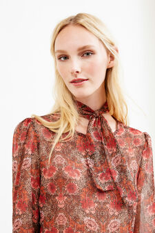 Blouse with all-over floral print tie, Red, hi-res
