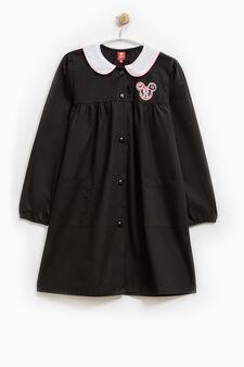 Solid colour apron with Minnie Mouse patch, Black, hi-res