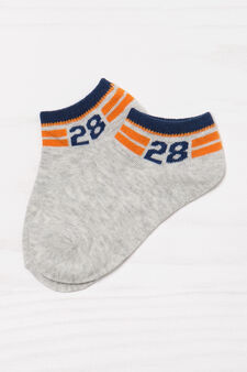 Two-pack short patterned socks, Blue/Grey, hi-res