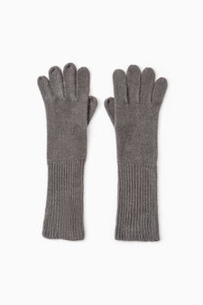 Long solid colour gloves, Grey, hi-res