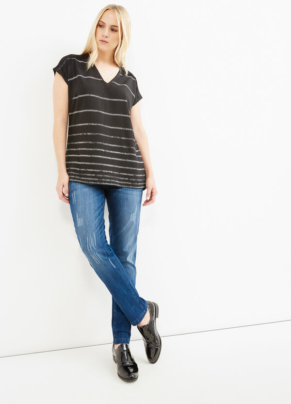 T-shirt viscosa a righe Curvy | OVS