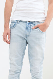 Jeans twisted fit stretch delavé, Azzurro, hi-res