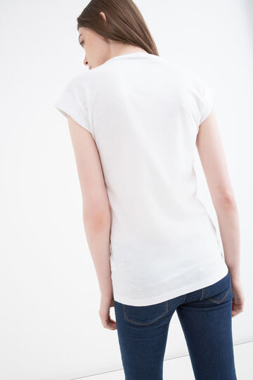 T-shirt cotone con stampa, Bianco, hi-res