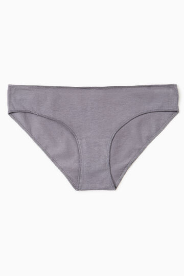 Solid colour stretch cotton briefs, Grey, hi-res