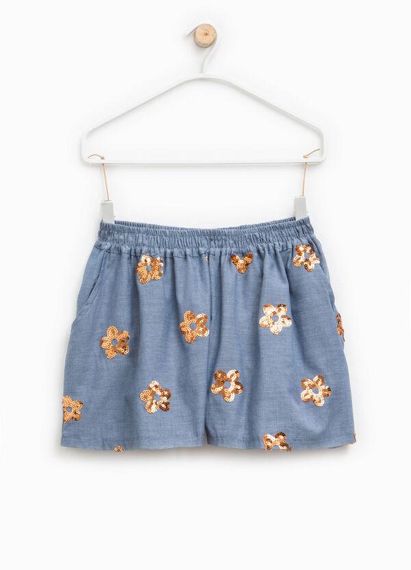 Shorts con strass a fiore | OVS